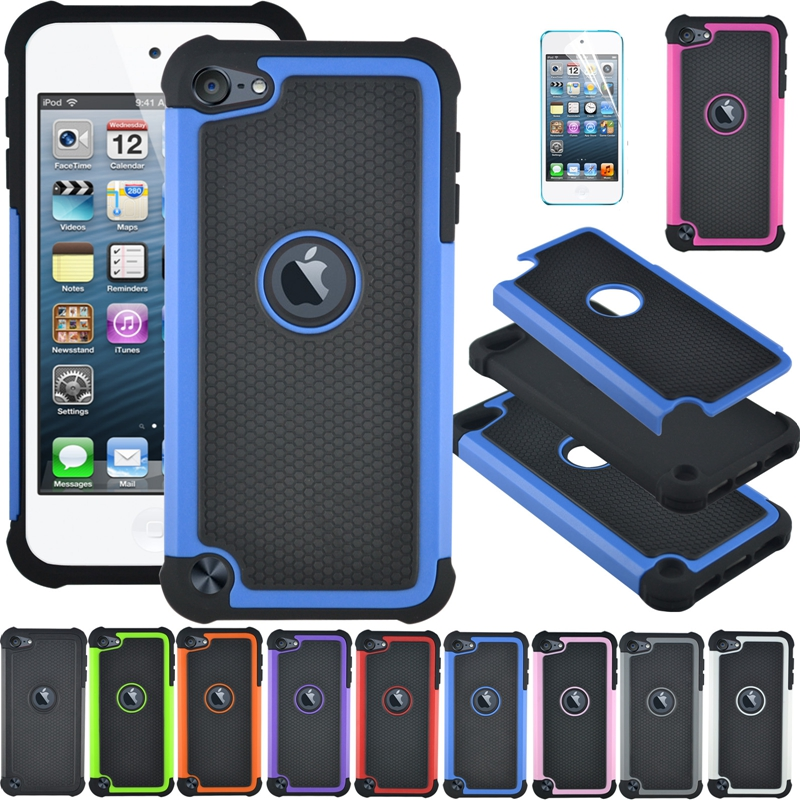 Shockproof 3 in1 Hybrid Rugged Impact Silicone Hard Back Cover Case For Apple iPod Touch 5 Durable Defender Cases + Screen Film(China (Mainland))