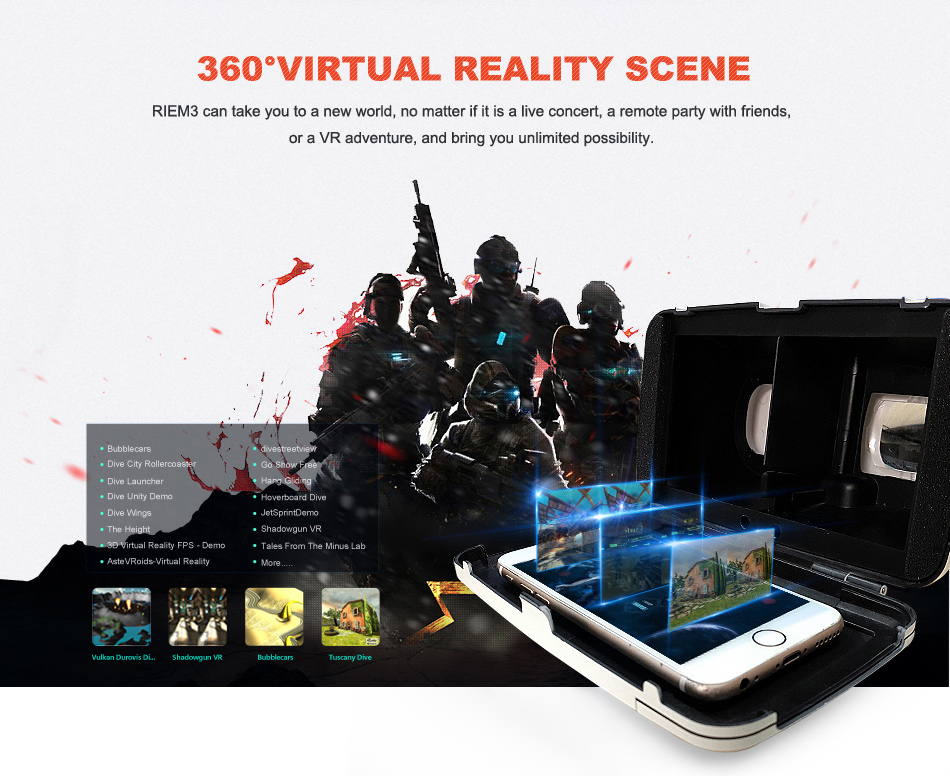 3D Virtual Reality VR Box Glasses Cardboard + Bluetooth Game pad for iPhone