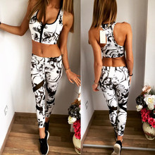 2016 Summer jogging women's tracksuits sportswear Zipper Print Sets Tank and Trousers Casual Slim Sexy Vintage Sport Suits(China (Mainland))