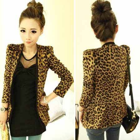 2015 Vintage Autumn Women Plus Large Leopard Jacket Slim One Button Shoulder Pad Suede Outwear(China (Mainland))
