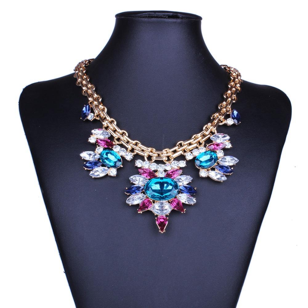 2014 vintage flower statement chain necklace