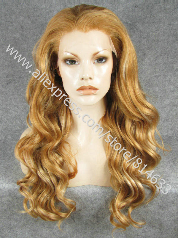 S07 DHL Free 24 Body Wave Heat Resistant Synthetic Lace Front Fashion Womens Gray Wig<br><br>Aliexpress