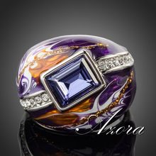 AZORA Royal Design Platinum Plated Stellux Austrian Crystal Multicolour Oil Painting Pattern Ring TR0092(China (Mainland))