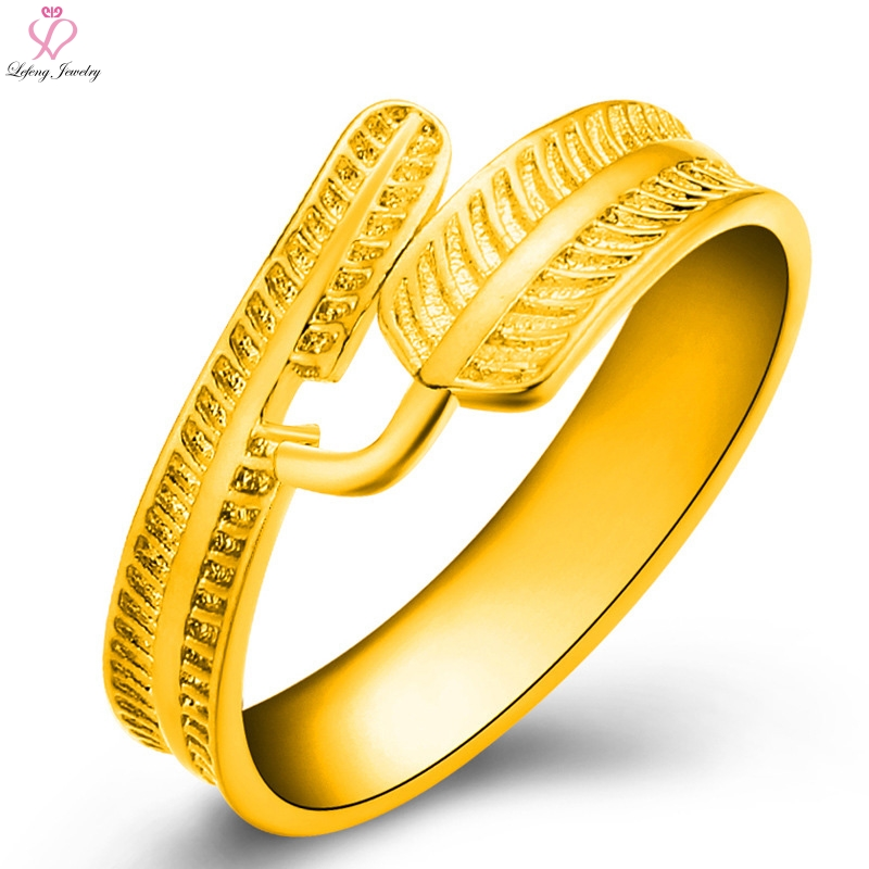Gold Color Cuff Rings Wedding Women Ring Life & Dream Feather Forever Love Fashion Female Party Jewelry Lover Engagement Gift(China (Mainland))