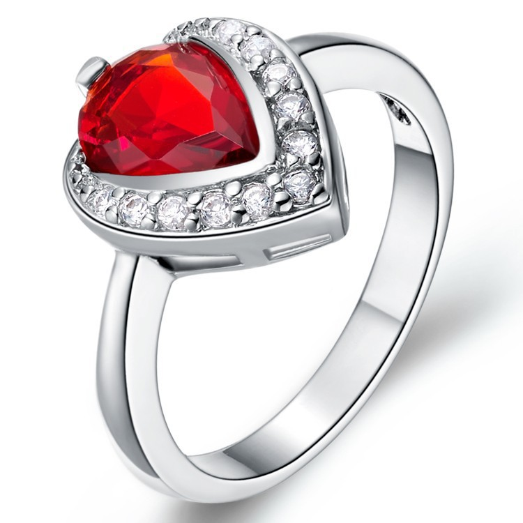 Wedding Rings for Women Jewelry Heart Love 925 Silver Rings Red/Blue/Purple Crystal Simulated Diamond Ring Jewellery(China (Mainland))