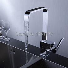 high quality brand new chrome brass material square single lever hot and cold kitchen sink faucet mixer