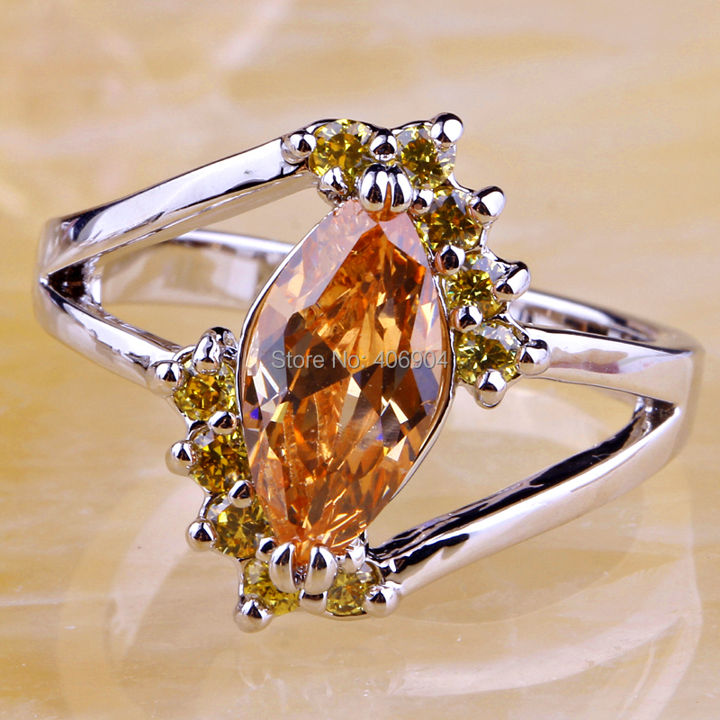 Brand New Gorgeous Jewelry Wholesale Women Marquise Round Cut Morganite Citrine 925 Silver Ring Size 8