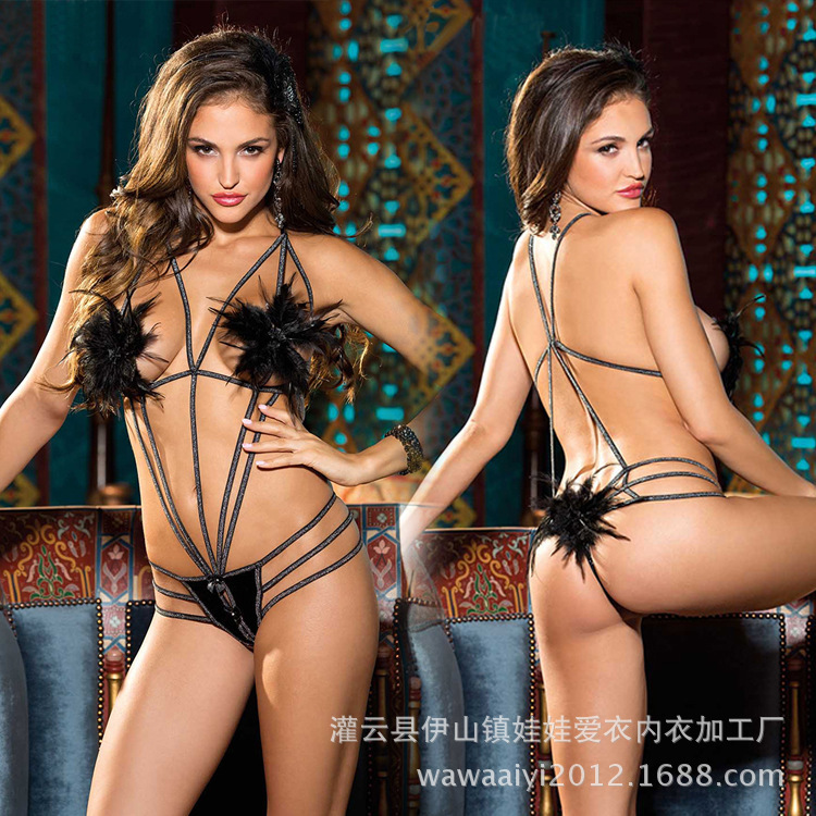 maid Lingerie sexy lingerie sexual interest highlight sexy underwear simple adornment feather three point product value(China (Mainland))