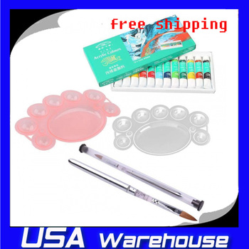 Free shipping on sale High quality 12 Acrylic Colours Paints Brush + Pallete Nail Art ship  from USA