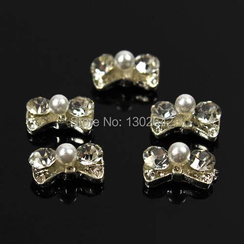 B51 10pcs/lot 9mm*5mm silver alloy clear rhinestone nail decoration bowtie nail art 3d diy nail accessories salon nail tips(China (Mainland))