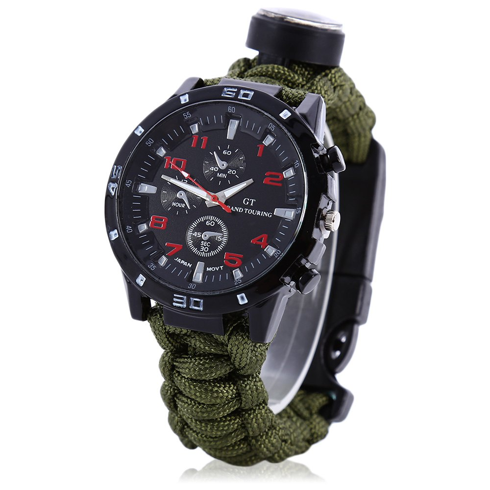 2016 Thermometer Fire Starter Scraper Whistle Gear Bangle Parachute Cord Army Green Color Multifuctional Compass(China (Mainland))