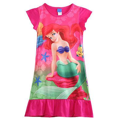 2016 newest Children Girls Little Mermaid ARIEL Girls Cotton Dress Pajama Nightgown(China (Mainland))