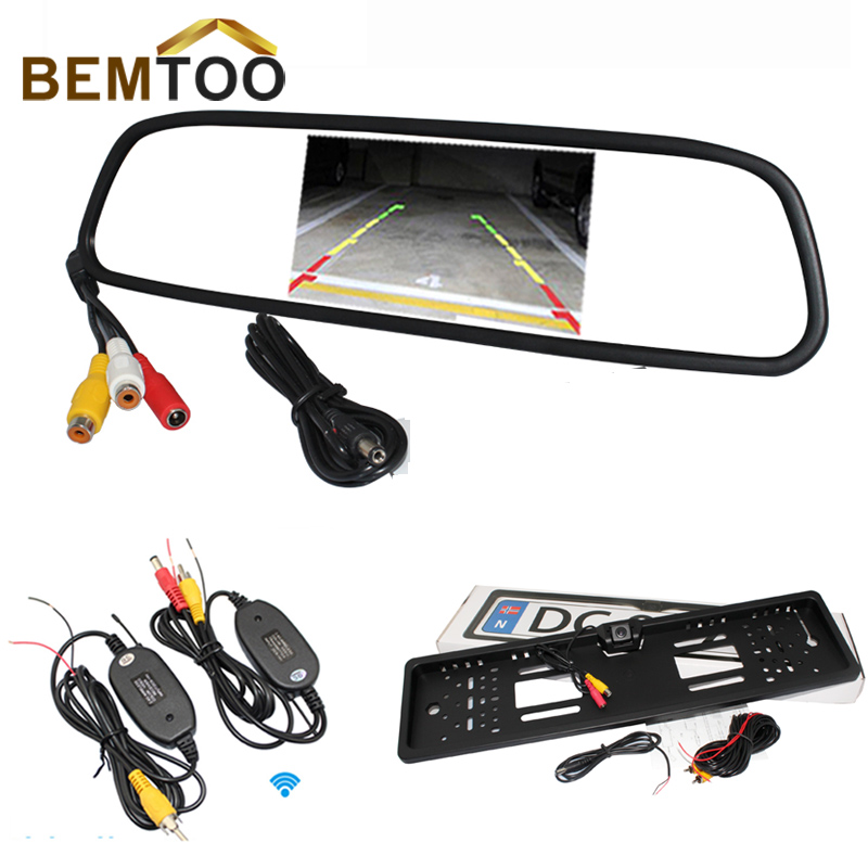 "4.3"" Color digital TFT LCD Screen Car Rearview Mirror Monitor & 2.4G Wireless Backup Rear licence plate Camera Cam,Free Shipping(China (Mainland))"