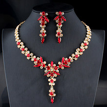 Jiayijiaduo 5 צבעים חדש קריסטל כלה תכשיטי סט נשים זהב צבע שרשרת ארוך עגילי סט אביזרי שמלת שושבינה(China)
