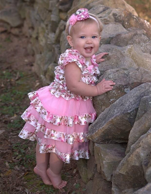 Baby girl easter dresses infant girl pink floral chiffon dress