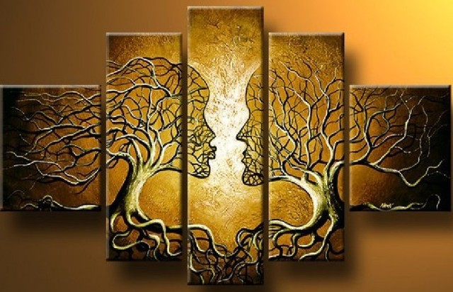 Art mural peint la main d coration moderne arbre de vie for Decoration murale arbre de vie