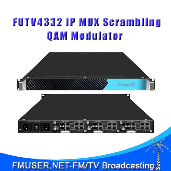 Free shipping FMUSER FUTV4332 IP Modulator MUX Scrambling QAM Modulator with 2 Modules 16 Frequencies(China (Mainland))