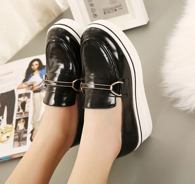 Drop Shipping 2015 Casual Flat Heel Round Toe Slip Platform shoes women Black Loafer Shoes Autumn Comfortable Women - NOZEF SHOES store