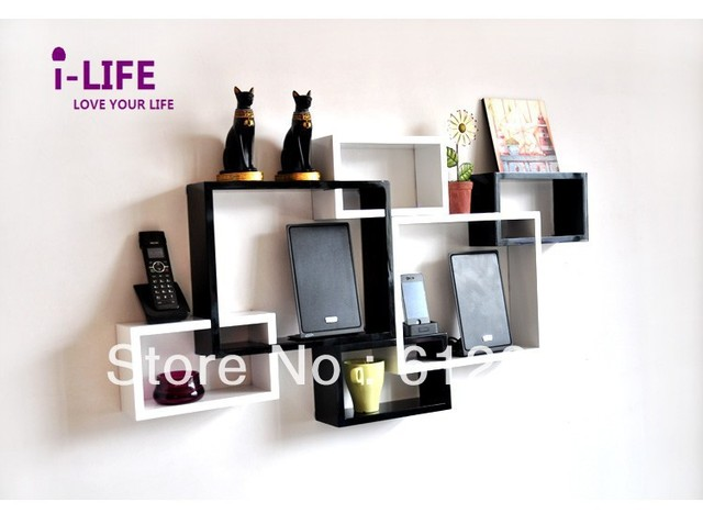 Only Wholesales 100PCS cross lattice MDF floating wall shelves/shelf wall mount by ocean shipping