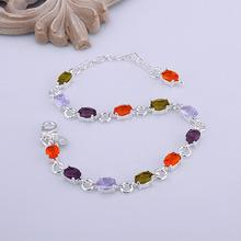 Bracelet  Silver Plated Bracelet  Colors Crystal Women Bracelet Factory Direct Sale Free Shipping trrt LH258(China (Mainland))