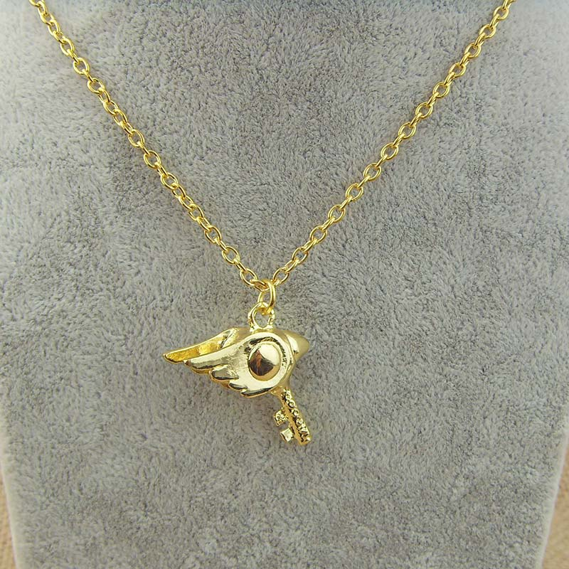 Cartoon CardCaptor Wand Captor Sakura Charm Gold plated pendant necklace for fans(China (Mainland))