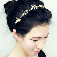 2015 Fashion Hot Sale Tiara Noiva Metal Gold Chain Flower Leaf Hairband For Wedding Bridal Hair Accessory Women Forehead Jewelry(China (Mainland))