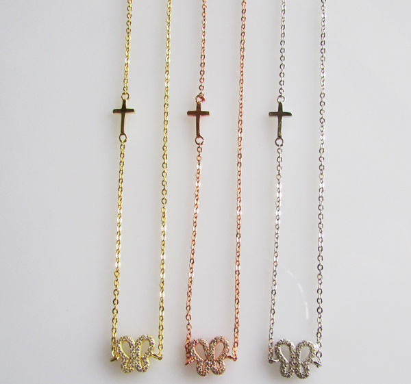 2016 factory promotion shinny silver jewelry girl daughter gift 925 silver chain butterfly cross necklace(China (Mainland))