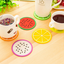 2016 Brand New HOT Household Colorful Jelly Color  Fruit Shape Coasters Creative Skid Insulation Cute Silica Gel Cup Mat XH05101(China (Mainland))