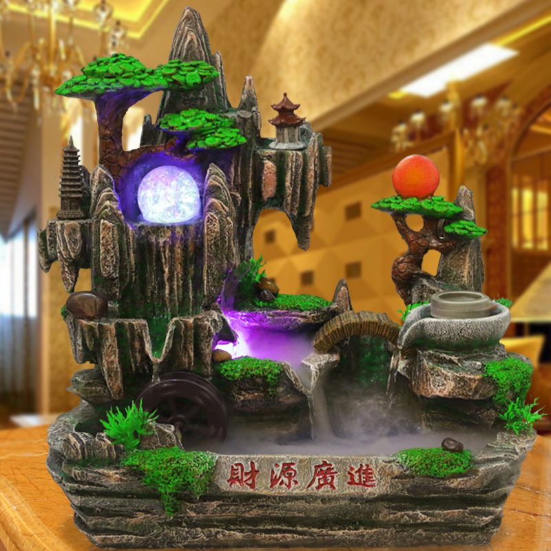 dec oration rockery water fountain fish-pond bonsai stone feng shui wheel crafts lucky decoration