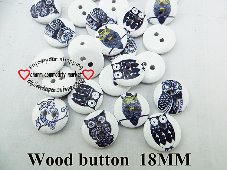 wholesale (200pcs/lot) owl bird series wooden buttons for baby hat 18MM MCB-948(China (Mainland))
