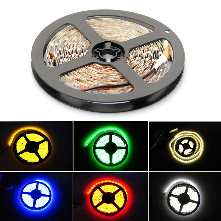 3528 SMD LED strip light 5 meters 300 LED Non Waterproof 12V flexible light 60 led/m,, white/warm white/blue/green/red/yellow(China (Mainland))
