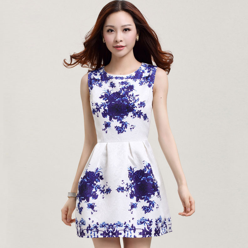 american express clothing new floral jacquard printing dress summer printed sleeveless dres buy and sale Dropship YN5805LS(China (Mainland))