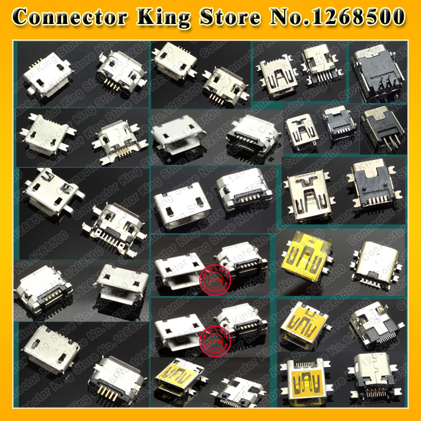 Free Shipping, New 1lot /20 Models /40pcs Widely Using Micro Mini USB Connectors Plug fit for MP3, MP4, Phone, Tablet(China (Mainland))
