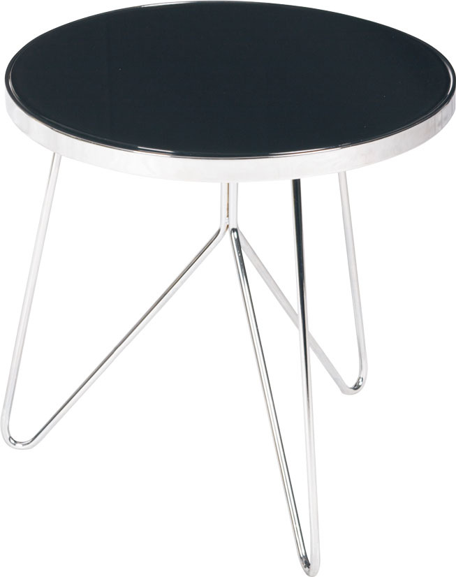 1 Piece Fashion Design Round Tempered Glass Chrome Frame Tea: one piece glass coffee table