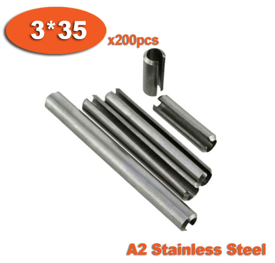200pcs DIN1481 3 x 35 A2 Stainless Steel Slotted Spring Pins<br><br>Aliexpress