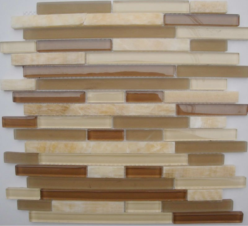 Buy Stone Glass Tile Deco Mesh Brick Pattern Wall Tile Kitchen Backsplash