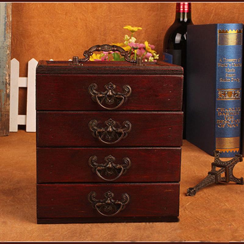 Vintage Wooden Storage Box Jewelry Makeup Organizer Wood Make Cosmetics Desktop Decoration Four Drawer  -  My Home Shop store