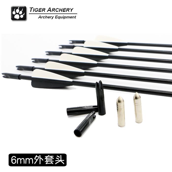 2016 New Fiberglass carbon 12pcs 6mm 7mm 8mm Archery Arrows Arrowheads recurve archery practice exercises Arrow