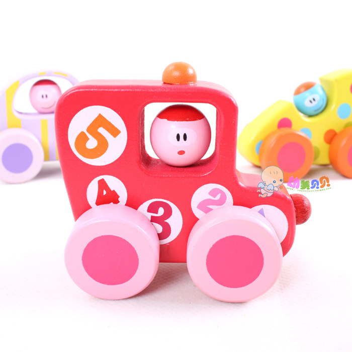 New cute cartoon mini wooden eco-friendly baby toy car bb car early education environmental 6x9cm / 2 pcs/lot(China (Mainland))