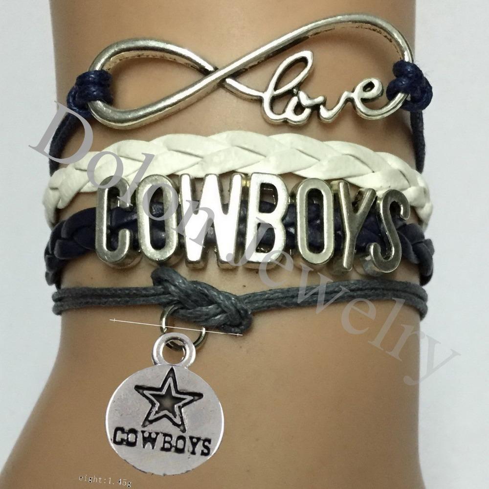 Personalized Dark Blue Cord Leather Infinity Love NFL Cowboys Football Team Bracelet Custom Sports Gift(China (Mainland))