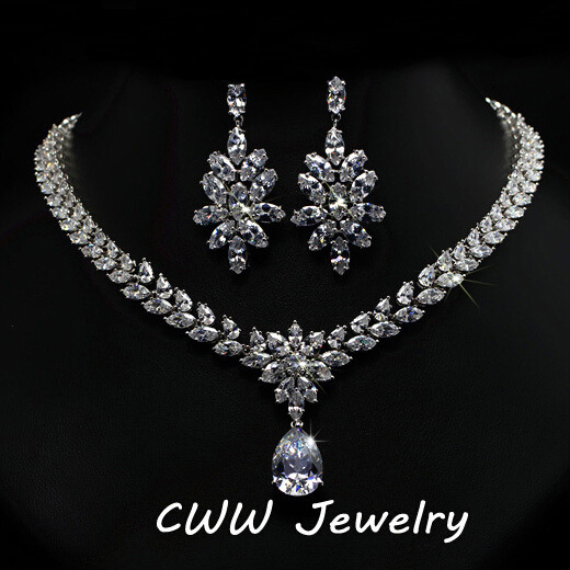 Cubic Zirconia Jewelry Sets : Aliexpress buy luxury cubic zirconia bridal jewelry