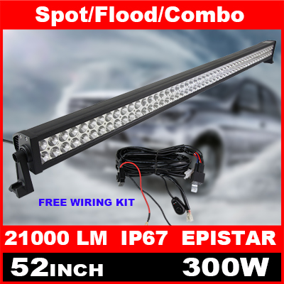 52 Inch 300W LED Light Bar + Switch Wiring Kit for Off Road Work Driving Offroad Boat Car Truck 4x4 SUV ATV Spot Flood Combo(China (Mainland))