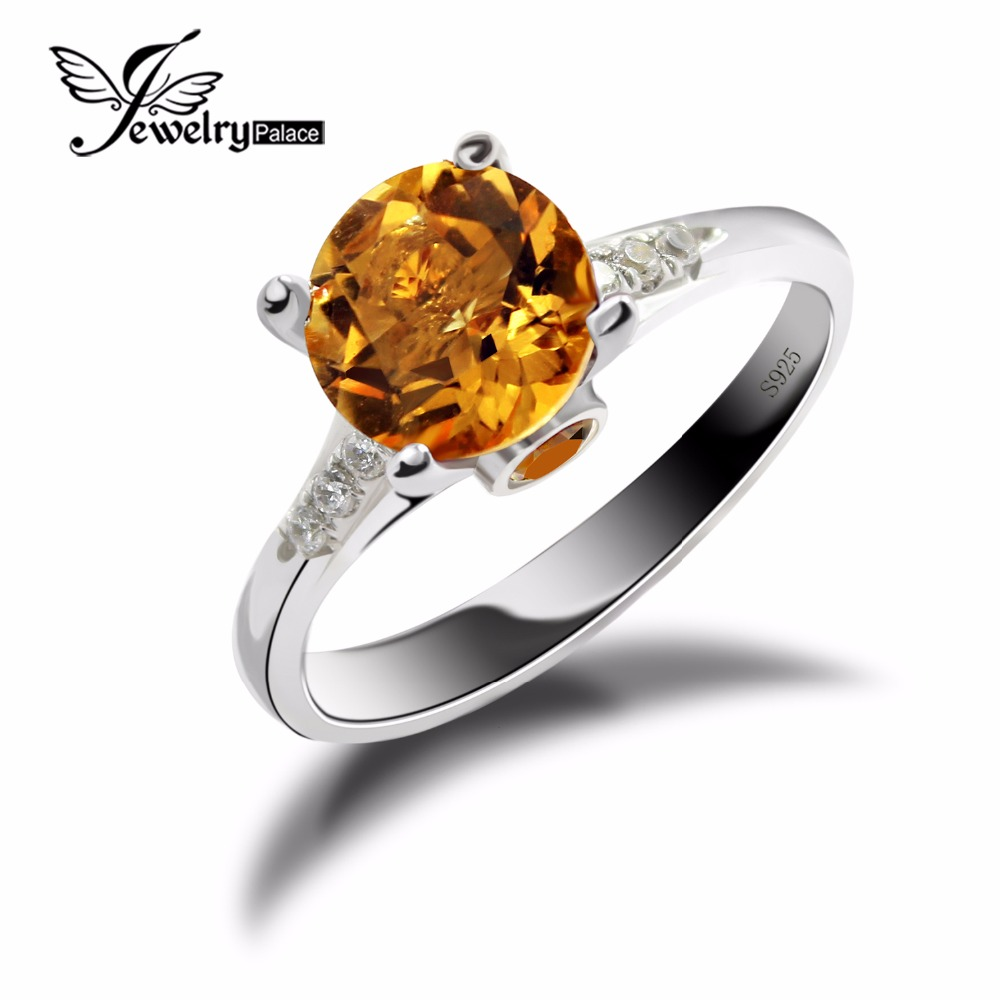 Natural Fabulous Yellow Dazzling Citrine Gemstone Ring--Pure Solid Genuine 925 Sterling Silver New Bridal Minimalist Jewellery - JewelryPalace Official Store store
