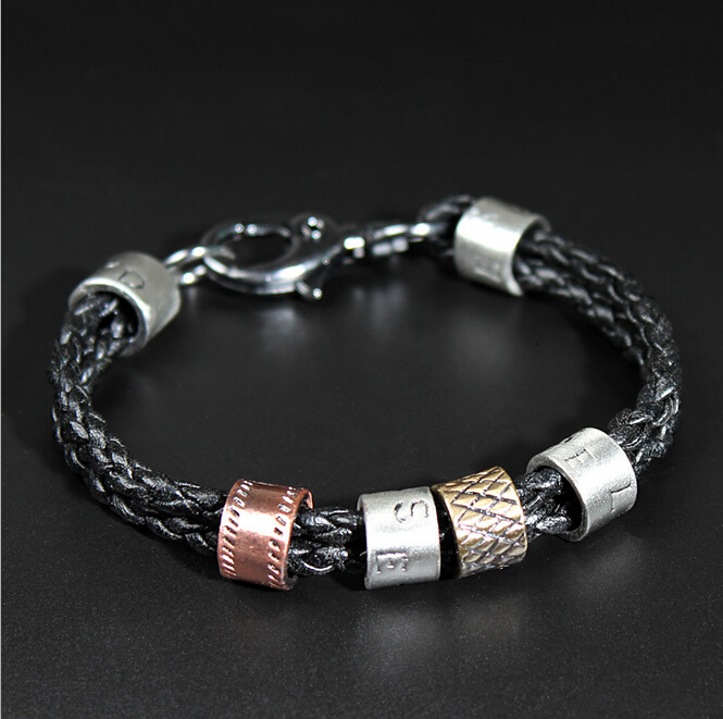 Classic Man Leather Bracelet Skeleton Black Punk PU Leather Bracelets Bangles Cowhide Punk Bracelet For Male Best Qualit NSL-90(China (Mainland))