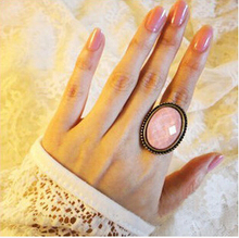 Cheap Ring Wholesale Vintage Oval Gem Ring Finger Ring 17mm size All-match Oval Cut Flower Ring Jewelry