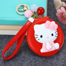KT Gato dos desenhos animados Olá Kitty Espelho de Maquilhagem Keychain Chave Titular Bolsa Charme Pingente Presente Chaveiros Llavero Carro Mulheres Porte clef(China)