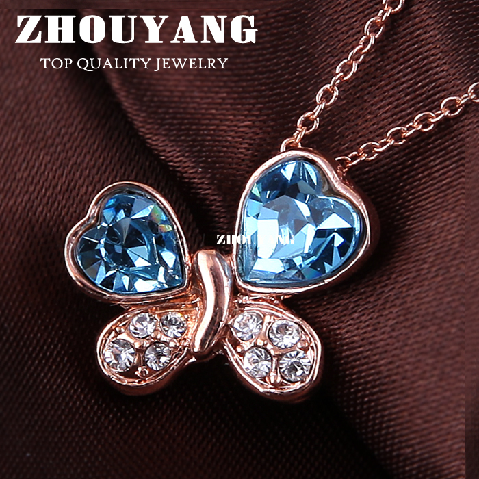 ZHOUYANG Top Quality ZYN185 Blue Butterfly Necklaces Rose Gold Plated Pendant Jewelry Made with Austria Crystal Wholesale(China (Mainland))