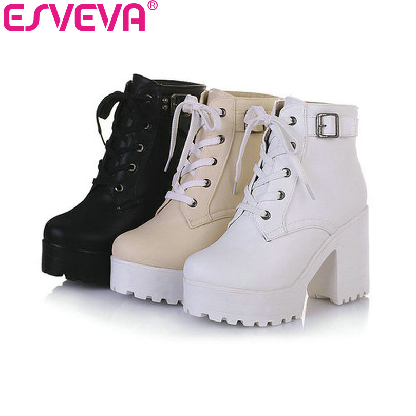Women's Fashion Platform Ankle-high High-heel Chunky Boots Lace-up Martin Boots
