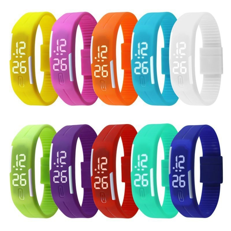 Relojes Mujer 2015 Women Watches Color Led Digital Wrist Watch Silicone Jelly Waterproof Sports Bracelet Watch Women Ladies Gift(Hong Kong)