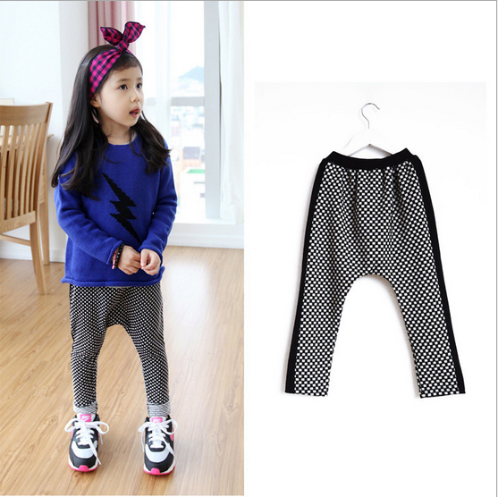 fashion white-black plaid new 2014 baby girls pants cotton children loose pant clothing,girl casual long brand trousers AHG1404 - kids clothes on line store